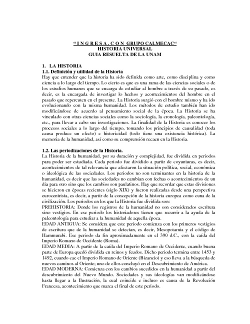 Historia Universal- UNAM