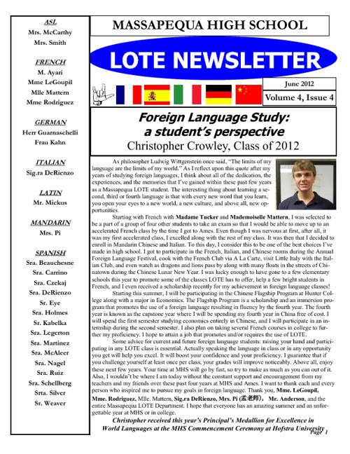 MHS-Ames LOTE Newsletter June 2012