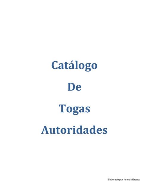 Catalogo Togas de Autoridades