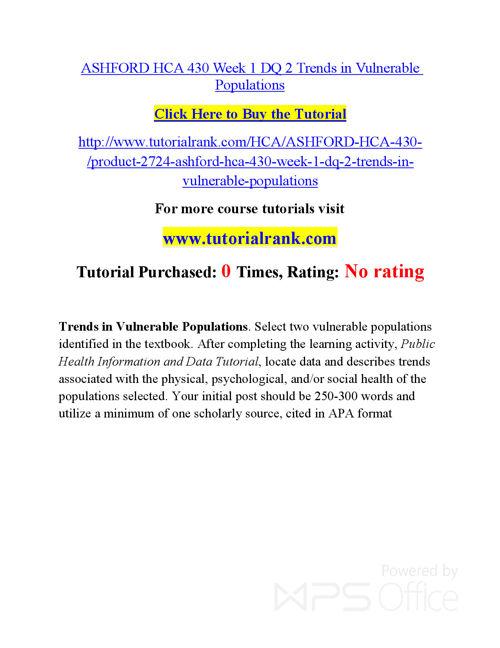 HCA 430 Course Success Begins / tutorialrank.com
