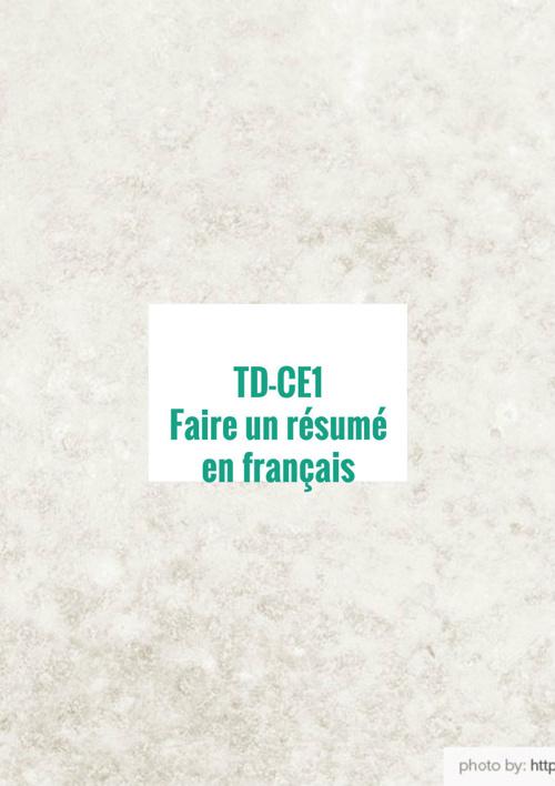 Copy of résumé en français