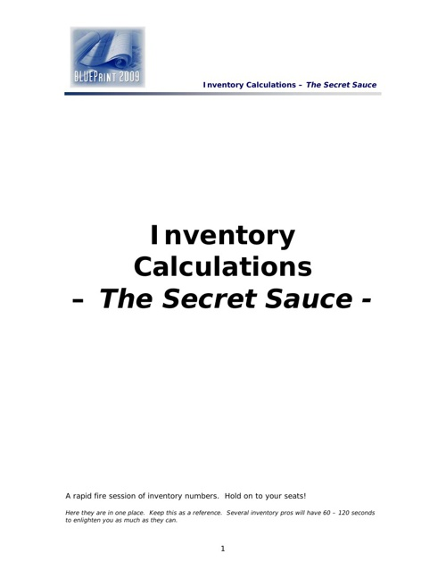 Inventory Tools & Calculations:   The Secret Sauce