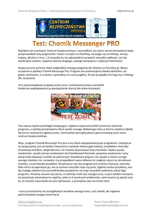 Test chomik messenger pro