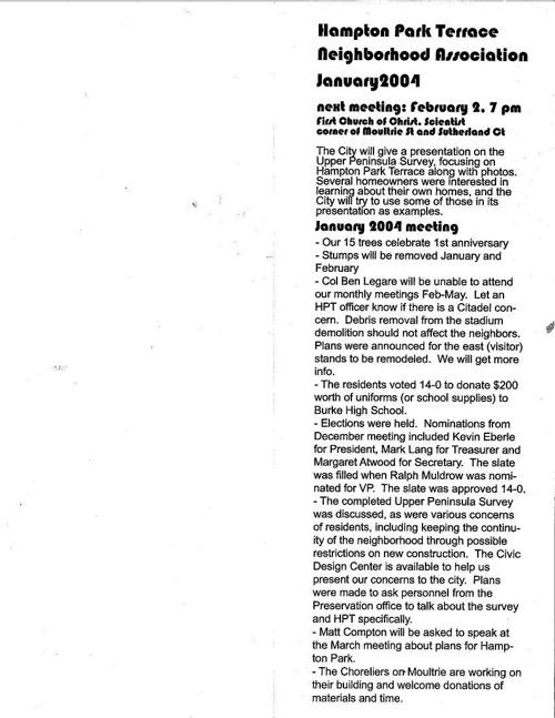 HPT Newsletter February 2004