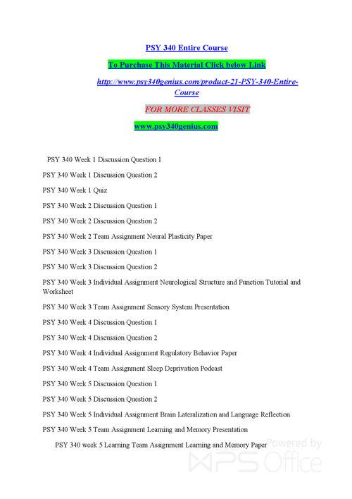 psy 340 week one worksheet Psy 340 biological foundations of psychology : psy 340 week 2 dq 1.