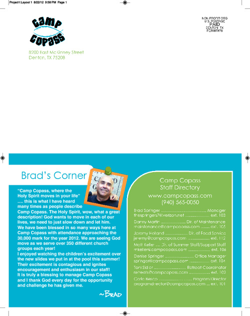 2012 Camp Copass Newsletter