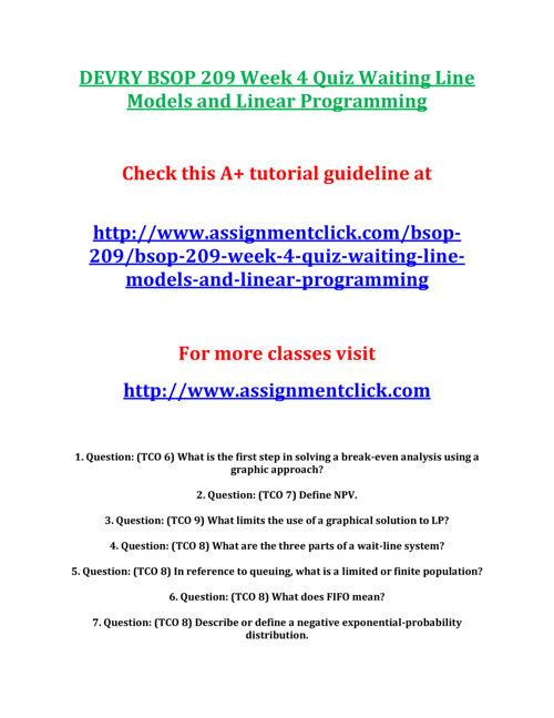 DEVRY BSOP 209 Week 4 Quiz Waiting Line Models and Linear Progra