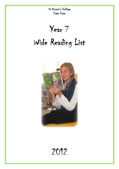 Year 7 Wide Reading List 2012