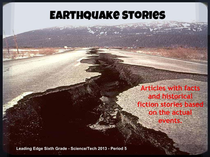 EARTHQUAKE STORIES - EXAMPLE