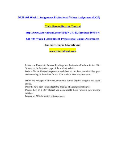 NUR 403 Course Extrordinary Success/ tutorialrank.com