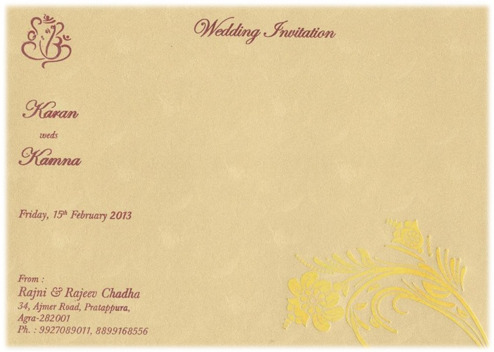 Invitation - Karan weds Kamna.