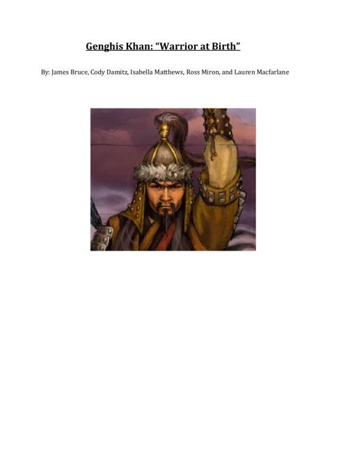 """Genghis Khan: """"Warrior at Birth"""""""