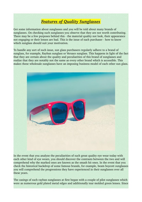 Features of Quality Sunglasses