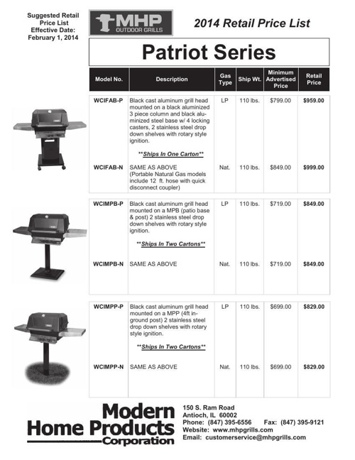 2014 MHP Patriot Series Retail Price List