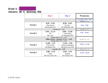 Schedule 2011