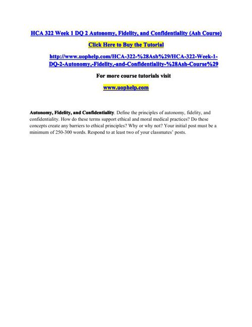 HCA 322(ASH) Academic Coach/uophelp
