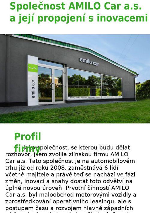 Copy of Společnost AMILO Car a.s. a její propojení s inovacemi