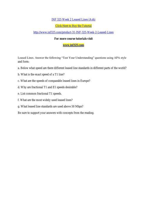 INF 325 Week 2 Leased Lines (Ash)