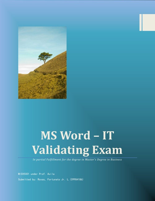 MS Word Validating Exam of FLRoxas