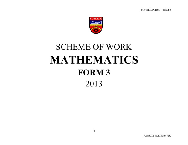 SCHEME OF WORK - FORM 3