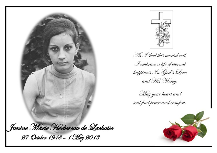 Memorial Card  for Janine Lachaise