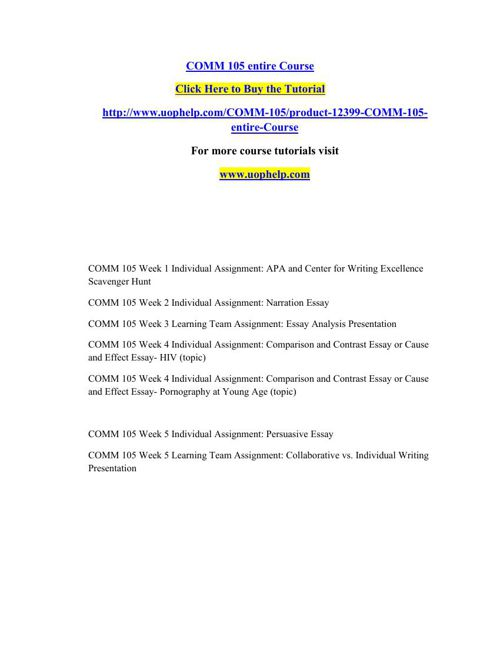 COMM 105 Instant Education/uophelp