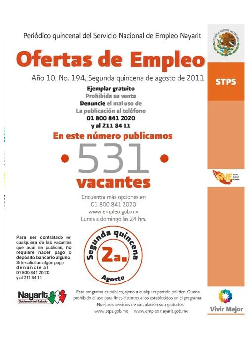 Ofertas de Empleo 2da Agosto
