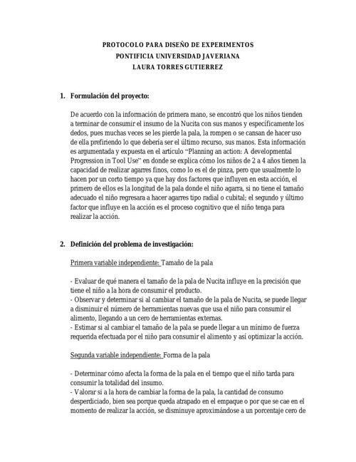 PROTOCOLO PARA DISEÑO DE EXPERIMENTOS