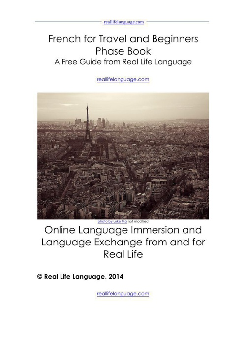 French for Travel and Beginners Phase Book