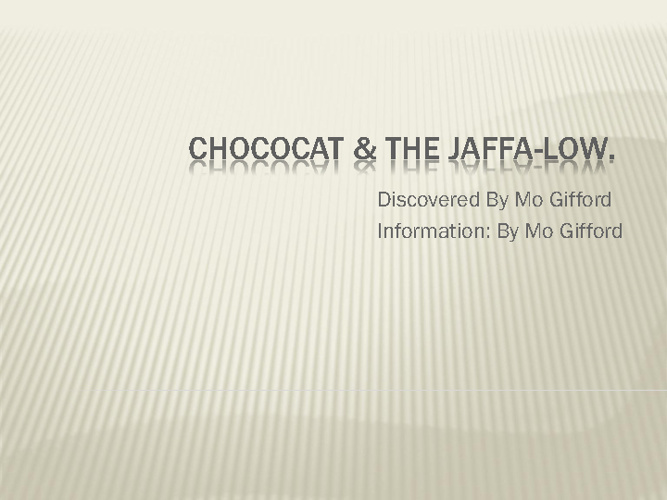 Chococat & the Jaffa-Low by Mo Gifford 9A3
