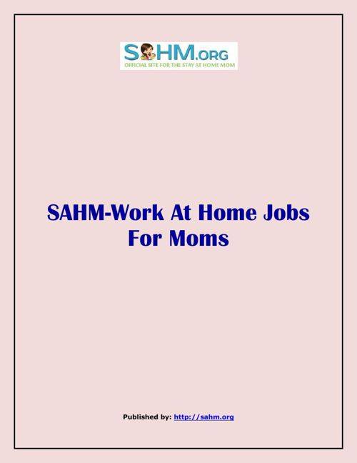 SAHM-Work At Home Jobs For Moms