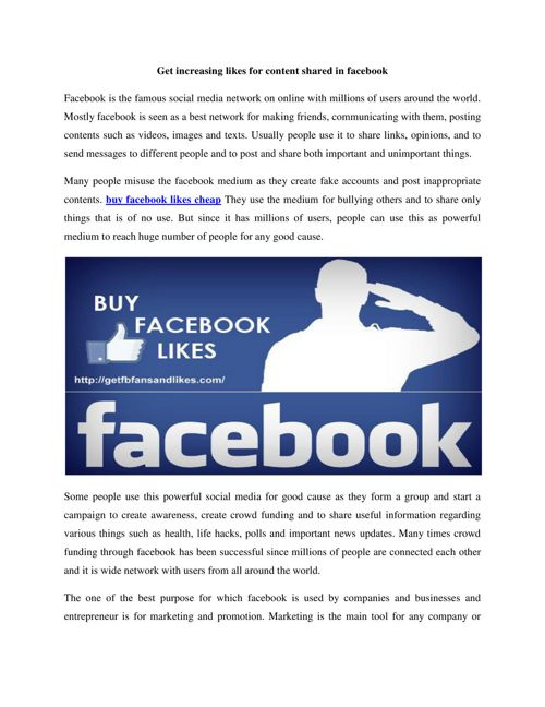 Get increasing likes for content shared in facebook