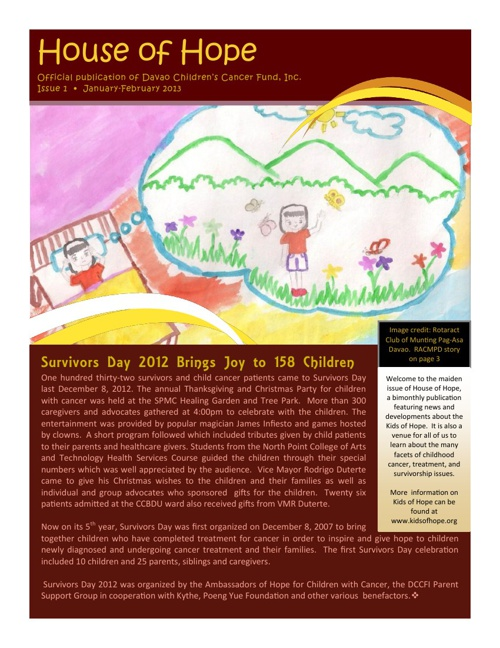 House of Hope Newsletter, Jan-Feb 2013