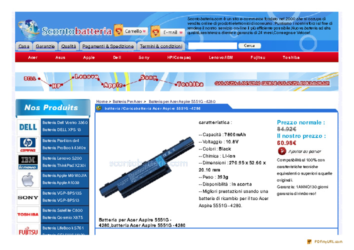 Batteria Acer Aspire 5551G -4280