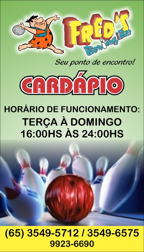 Novo cardapio Freeds Bownling bar 2013