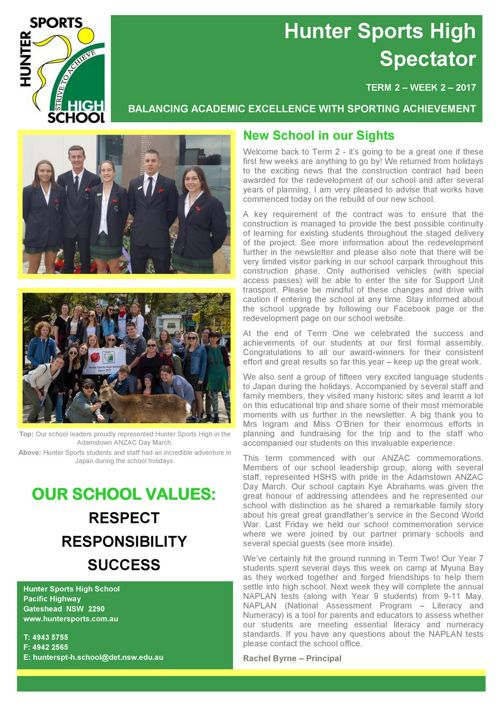 Term 2 Week 2 Newsletter 2017