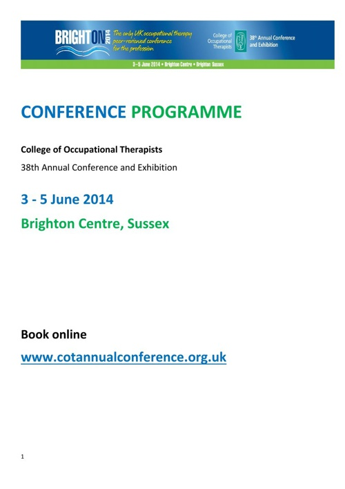 COT 2014 Annual Conference Programme