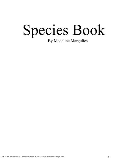 Madeline's Species Book