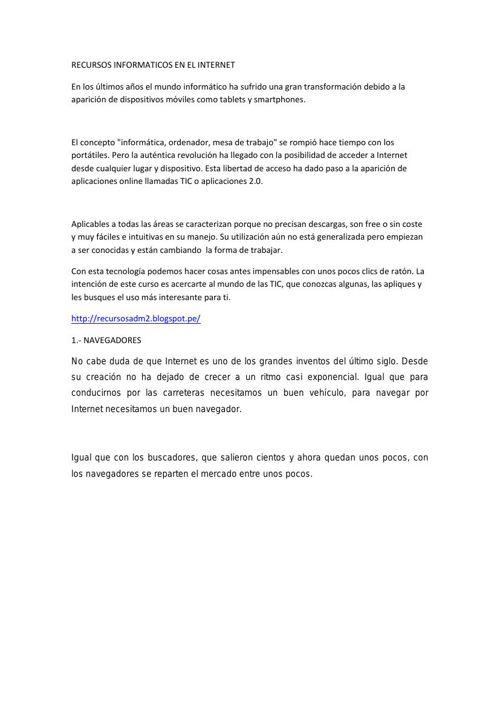 RECURSOS INFORMATICOS EN EL INTERNET ELVIRA