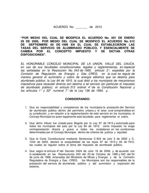 PROY DE ACUERDO TARIFAS ALUMBRADO PUBLICO