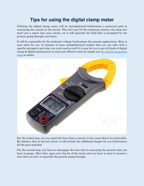 Tips for using the digital clamp meter
