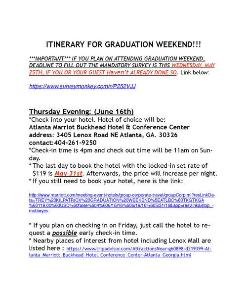 Graduation Itinerary