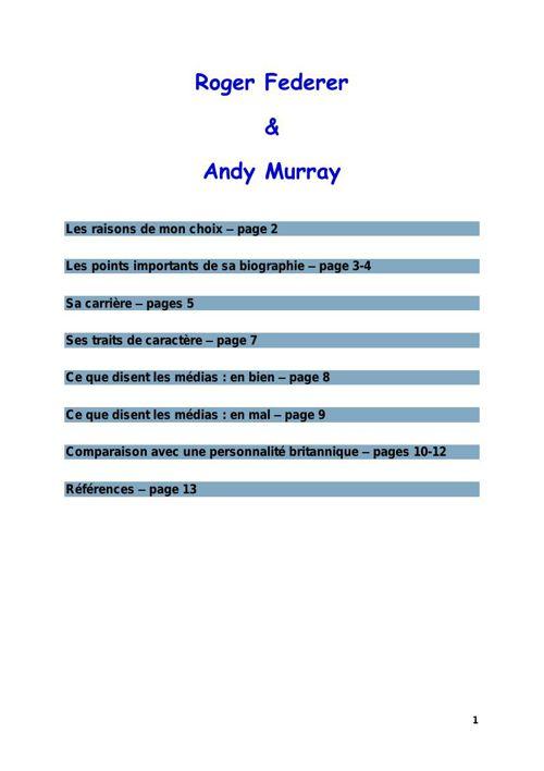 Roger Federer et Andy Murray
