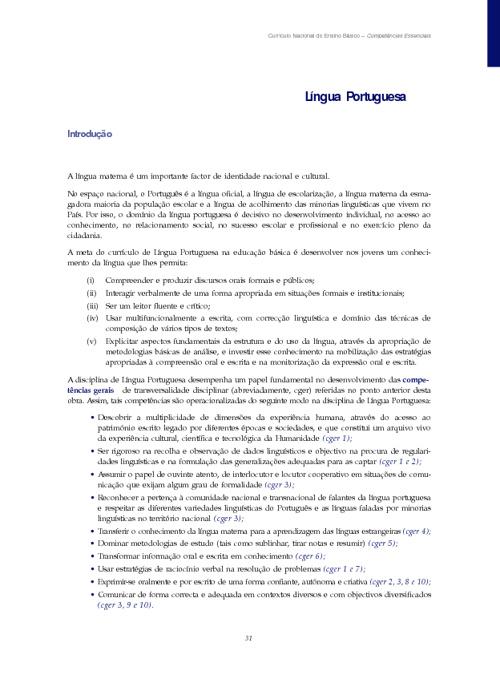 Competências Essenciais Língua Portuguesa