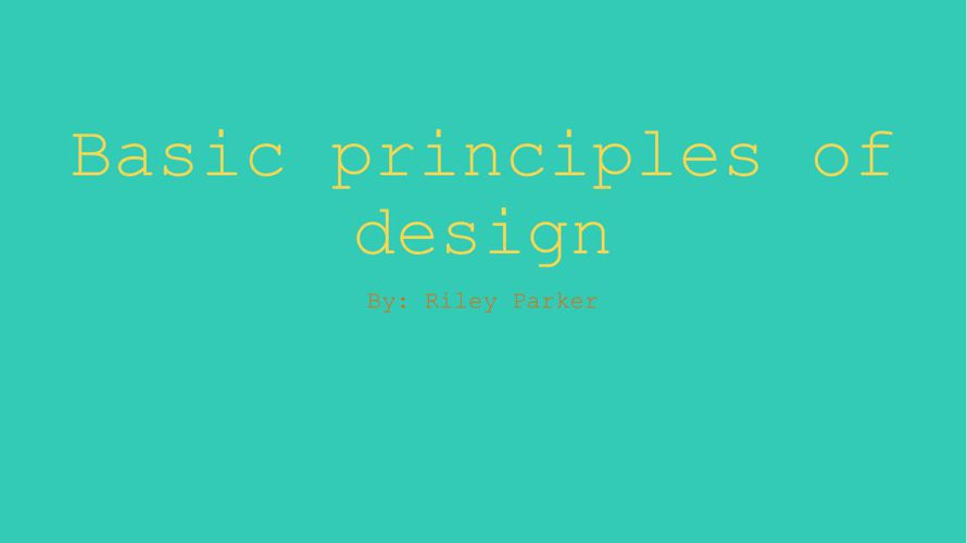 Basic principles of design pdf