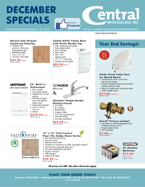 Central Wholesalers December Specials 2012