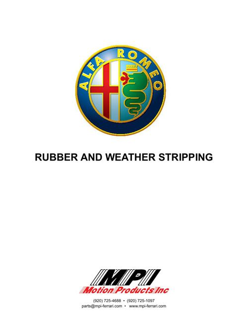 Alfa Romeo Rubber Catalog