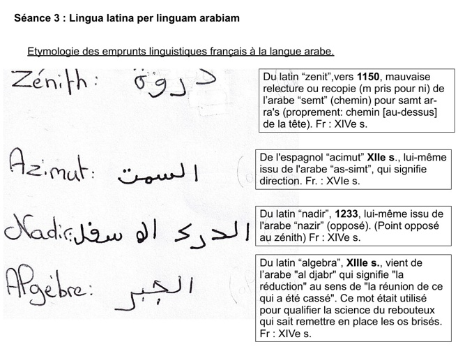 Lingua latina per linguam arabiam
