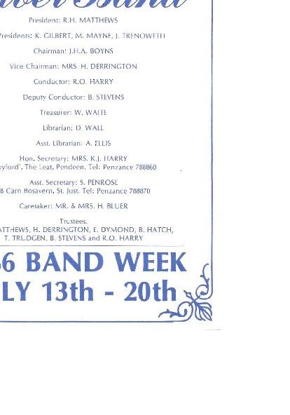 Band Week Programme 1986