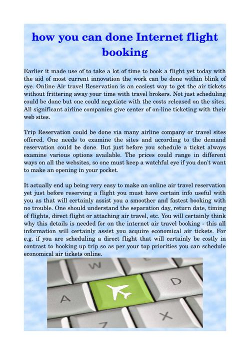 how you can done Internet flight booking